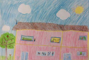 Buntstiftzeichnung der Schule