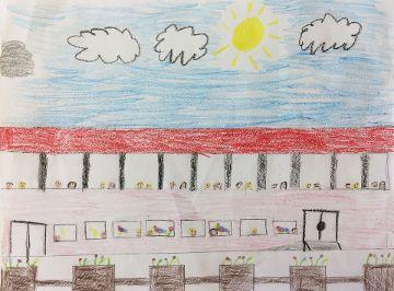 Grundschulfenster mit Schüler