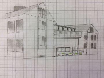 Bleistiftzeichnung des Grundschuleingangs
